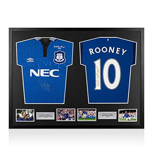 Framed-Duncan-Ferguson-Wayne-Rooney-Signed-Everton-Shirts-Dual-Framed