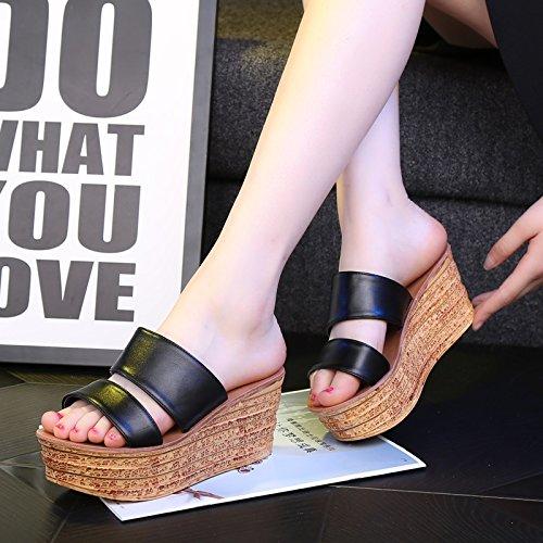 Tongs Sandales Femmes Pantoufles Et Sandales Confort Club Printemps Eté Chaussures Casual Wear Talon Compensé Noir Rouge Blanc Élégant (couleur: Blanc, Taille: Eu37 / Uk4-4.5 / Cn37) Noir