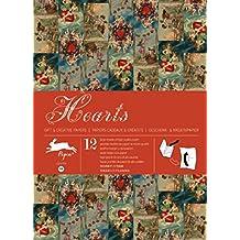 Libro 12 Pliegos de Papel Regalo VINTAGE Creativo PEPIN Diseño HEARTS 301 7066