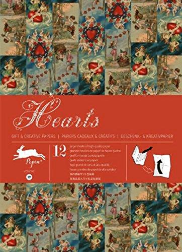 Libro 12fogli di carta da regalo vintage creativo Pepin motivo Hearts 3017066