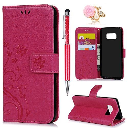 YOKIRIN Flip Hülle Kompatibel für Samsung Galaxy S8 Wallet Case Schmetterling Blumen Flipcase PU Leder Ständer Etui Schale Bookstyle Schutzhülle Ständer Magnetverschluß Karteneinschub Rose Rot