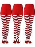 Sumind 3 Pares de Medias a Rayas de Navidad de Longitud Completa Calcetines Altas de Mulso para Mujeres(Rojo/Blanco, Talla de Niños)