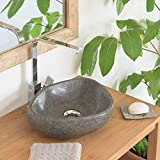 wohnfreuden Waschbecken aus Stein Steinwaschbecken 30 cm oval rund Naturstein Aufsatzwaschbecken für Gäste WC