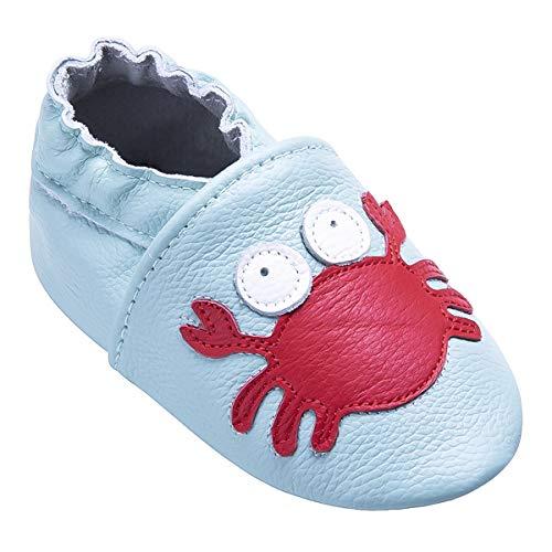 Weiche Leder Babyschuhe mit Mokassins Wildledersohlen für Kleinkinder Kleinkinder Jungen Mädchen Prewalker Schuhe (12-18 Monate, Krabbe) -