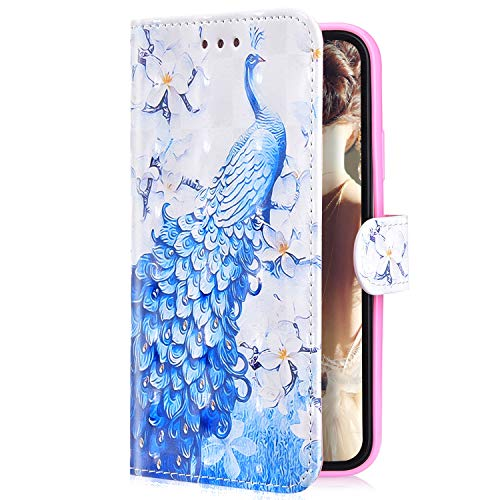 Uposao Kompatibel mit Samsung Galaxy S10e Handytasche Bling Glitzer 3D Muster Handy Hülle Flip Case Cover Schutzhülle Wallet Tasche Lederhülle Bookstyle Klapphülle Kartenfächer,Pfau