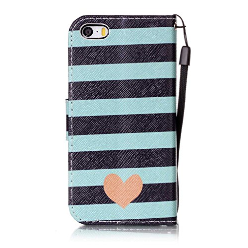 Hülle für iPhone SE, Tasche für iPhone 5 5S, Case Cover für iPhone 5 5S SE, ISAKEN Malerei Muster Folio PU Leder Flip Cover Brieftasche Geldbörse Wallet Case Ledertasche Handyhülle Tasche Case Schutzh Streifen Herz