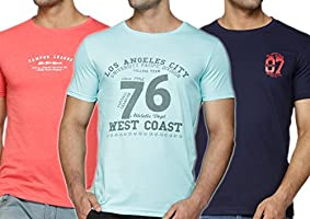 Perroni Men's Cotton Blend Material Round Neck Half Sleeve Printed Smart Fit 3 Pack TShirts Combo pack (XX-Large, Coral,Sea Green,Navy)