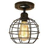 Loft vintage jaula de hierro negro lámpara de techo llevó luces de techo luminaria para sala de estar baño bar(negro)
