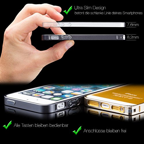 iCues Apple iPhone 6S / 6 |  Alu Bumper Clip Schwarz | [Display Schutzfolie Inklusive] CNC Aluminium Metall Metallic Rahmen Case Hülle Schutzhülle Alubumper Plain Light Blue