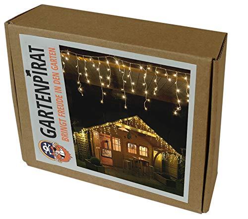 Gartenpirat 4,2 m Eisregen Lichterkette mit 168 LED warmweiß für außen