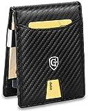 GenTo® Herren Designer-Geldbörse Monaco mit Geldklammer und Münzfach - TÜV geprüfter RFID, NFC Schutz | Design Germany (Carbon Schwarz)