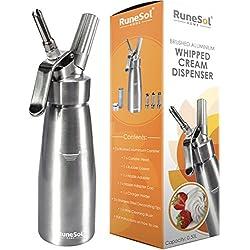 RuneSol® Home Whipper Siphon à crème chantilly professionnel avec 3 douilles en acier inoxydable compatible avec les cartouches N20 (non inclus)
