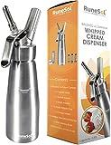 RuneSol Home Whipper Siphon à crème chantilly professionnel avec 3 douilles en acier inoxydable compatible avec les cartouches N20 (non inclus)
