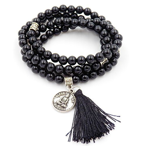 mala perlen Armband, buddhistische gebetsperlen, Lappen Armband, Buddha weniger Mich erklärung Halskette (Onyx)