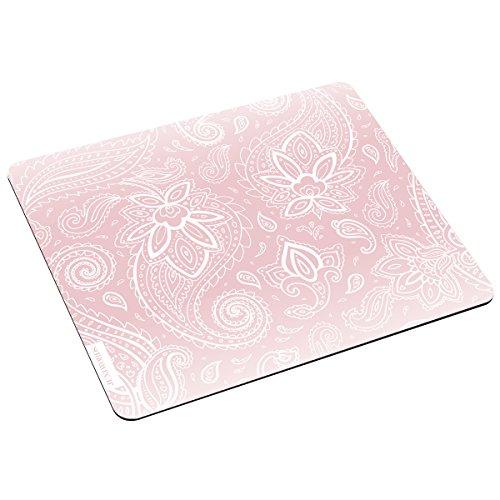 JUNIWORDS Mousepad / Mauspad mit Motiv 'Weiße Schnörkel rosa' - ideales Geschenk zum Geburtstag, Weihnachten u.v.m.