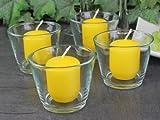 Gastrokerzen Stumpenkerzen Minikerzen 50/40 zitrone gelb, mit Dochthalter, 16er Pack