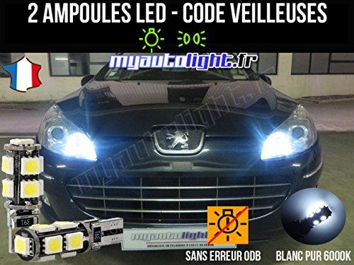 MyAutoLight - Pack Ampoules Voiture Pour 407 - Veilleuses - Blanc Pur Effet Xénon