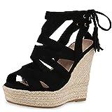 SCARPE VITA Damen Sandaletten Bast Keilabsatz Espadrilles Wedges Schuhe 160580 Schwarz Quasten 36
