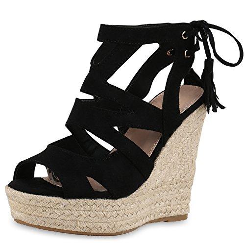 SCARPE VITA Damen Sandaletten Bast Keilabsatz Espadrilles Wedges Schuhe 160580 Schwarz Quasten 35 - Wedges Sandalen Schuhe Frauen