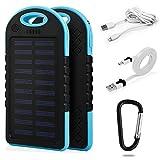 Waterproof–Cargador solar power bank 6000mAh Micro USB externo batería iPhone Android IP65resistente al polvo antichoque portátil Energía Banco Cargador de teléfono móvil con LED + 2x cable