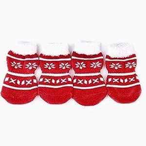 Beito Pet Chaussettes Motif Flocon de Neige Petit Chien Chiot Chat Antiderapant Chaussettes avec Empreintes de Pattes Taille S