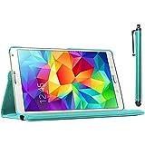 ebestStar [Kompatibel mit Samsung Galaxy Tab S 8.4 Hülle [SM-T700, SM-T705: 212.8 x 125.6 x 6.6mm, 8.4''] Rotierend Schutzhülle Etui, Schutz Hülle Ständer Rotating Case Cover Stand, Blau