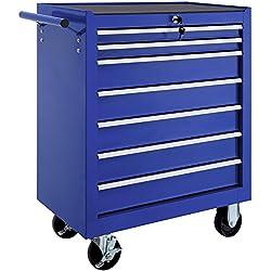 TecTake Carro de herramientas con ruedas | 7 cajones con cerradura | -varios modelos- (Azul | No. 402801)