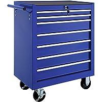 TecTake Carro de herramientas con ruedas   7 cajones con cerradura   -varios modelos- (Azul   No. 402801)