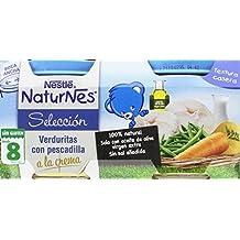 Nestlé Selección Tarrito de puré de verduras y carne, variedad Verduritas con pescadilla a la