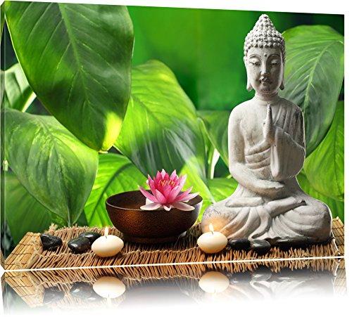 Seerosenblüte mit Buddha Statue Format: 60x40 auf Leinwand, XXL riesige Bilder fertig gerahmt mit Keilrahmen, Kunstdruck auf Wandbild mit Rahmen, günstiger als Gemälde oder Ölbild, kein Poster oder Plakat - Buddha-statue In Japan