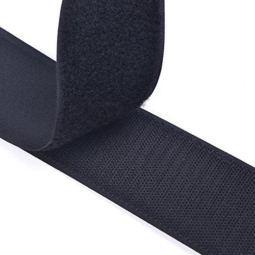 5CM Breite 5 Meter lang Klettband selbstklebend Nähen auf Haken und Schleife Streifen mit Nicht-Adhesive Backed Nylongewebe Fasten Set,schwarz