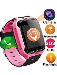 Niños Inteligente Relojes,GPS Tracker para Niños con cámara de Podómetro con Pantalla Táctil Llamadas SIM Anti-perdida SOS para Niñas Regalos de Cumpleaños (Rosa)