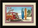 Northwest Art Mall ed-5740mfgdm Bgr Key Largo Florida Woodie Auto & Surfbretter, gerahmt Wand Kunst von Künstlerin Evelyn Jenkins Drew, 33x 40,6cm