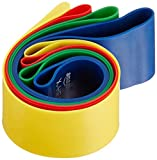 AmazonBasics Trainingsbänder-Set, Gymnastikbänder, 4-teilig, Schlaufenform, inkl. Tragetasche - 4