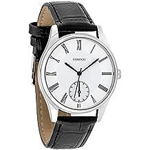 Ferenzi Hombre   reloj Classic plata con números romano con brazalete negro   fz17401