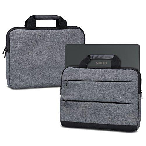 NAUC Sleeve Hülle für Medion Akoya E3222 E3223 Tasche Schutzhülle Laptoptasche Tragetasche mit Griffen und Zubehörtaschen, Farbe:Dunkelgrau