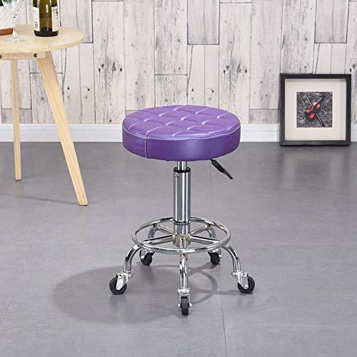 MIMI KING Drehbarer Rollhocker mit Rädern, runder Rollhocker, höhenverstellbarer Dreh-Zeichenstuhl aus PU-Leder für die Küche des Medical Spa Office,Purple (Office-möbel Medical)