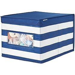 mDesign Caja con tapa para guardar ropa o juguetes – Organizador de armarios, ideal para zapatos, prendas, mantas o artículos de bebé – Caja de tela a rayas marineras – azul marino/blanco