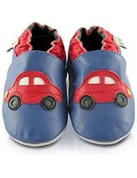 Snuggle Feet - Chaussons Bébé en Cuir Doux - Voiture Rouge