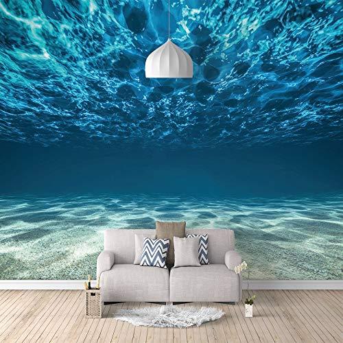 Benutzerdefinierte 3D Wandbild Tapete selbstklebende Leinwand Unterwasser Muster für Schlafzimmer Wohnzimmer Tv Hintergrund Wanddekoration Wandbilder,400cm(W) x280cm(H)-8 Streifen (Unterwasser-schlafzimmer)