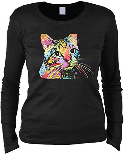 Damen Longsleeve, Langarmshirt, Pulli mit bunten Katzenportrait - Catillac New
