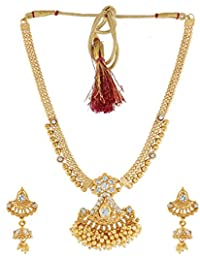 Anuradha Art Golden Finish Styled With Shimmering Stone Traditional Necklace Set For Women/Girls