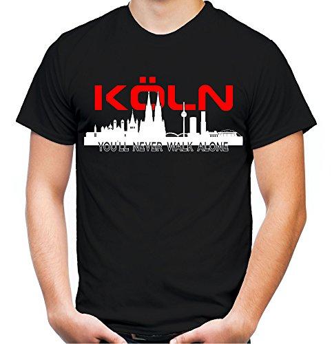 Köln Skyline Männer und Herren T-Shirt   Fussball Ultras Cologne Geschenk (XL, Schwarz)