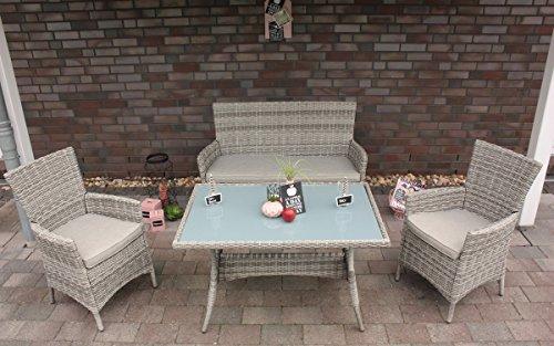ALU-GEFLECHTSET Aluminium-Dining-Lounge ,,Portland' 55454 7-tlg Zerl. Portland