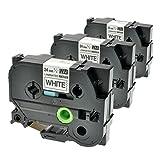 3 Schriftbänder für Brother TZE-251 P-Touch 2400 E 7500 VP 9200 PC DX Series 9800 PCN 350 550 H500 LI Series RL 700 S 24mm/8m - Schwarz auf Weiß