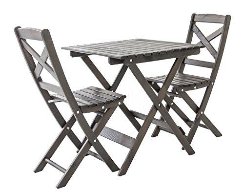Ambientehome Balkonset Sitzgruppe klappbar Bistroset Lotta, Taupegrau, 3-teiliges Set