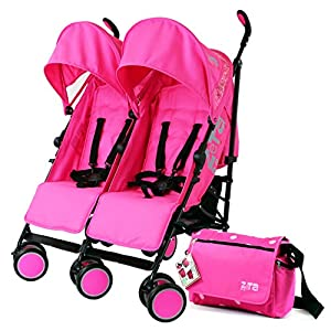 Zeta Citi TWIN Stroller Buggy Pushchair - Raspberry Pink Double Stroller With Bag from Baby TravelTM