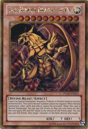 Yu Gi OhCarte Dragon ailé de Râ PGLD-EN031 UNL ED Carte Rare Série Premium Gold Yu-Gi-Oh! Une seule carte.