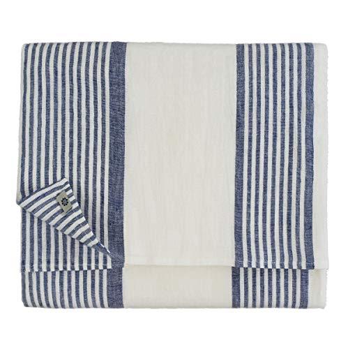 Linen & Cotton Nappe de Luxe OLIVIER, 100% Lin Lavé - Blanc/Bleu (150 x 200cm)