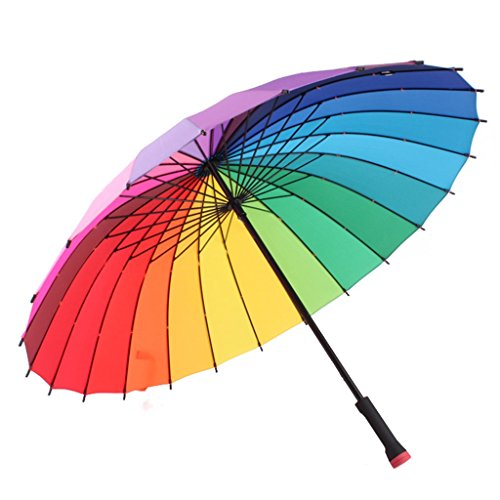 Umbrella Paraguas con Mango Largo Arcoiris de 24 Huesos, 100 cm después de Abrir